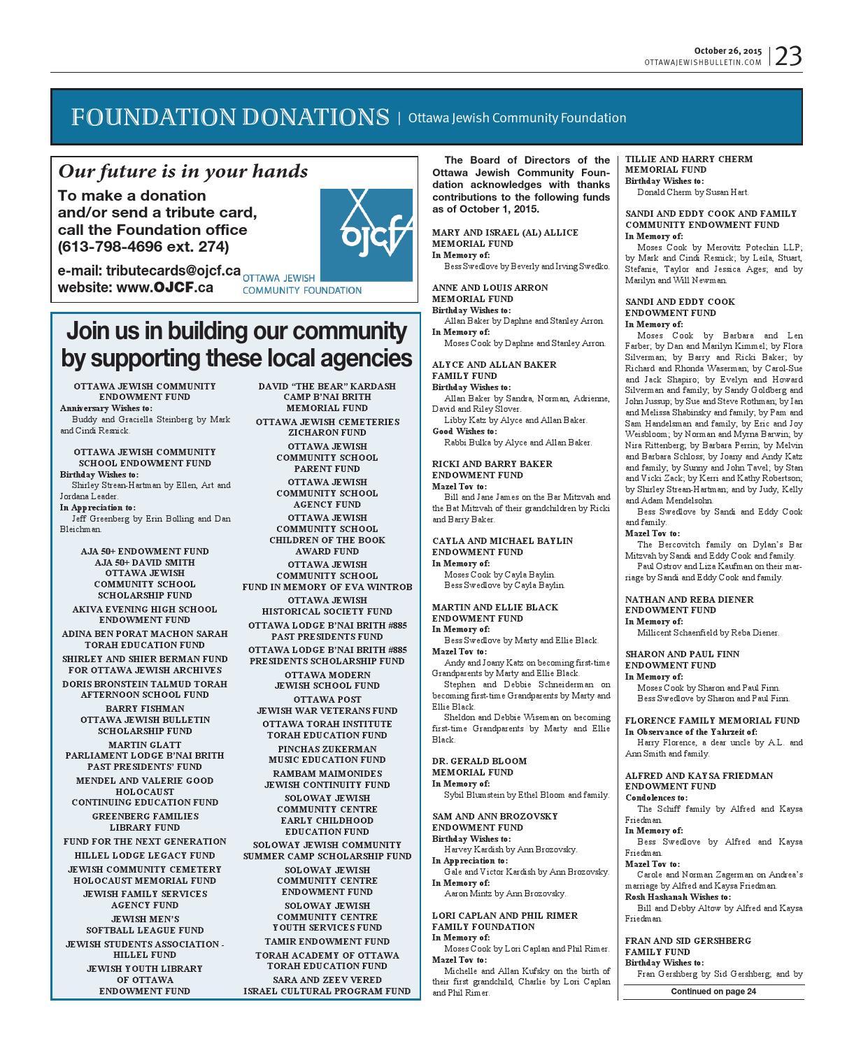 Ottawa Jewish Bulletin 2015 10 26