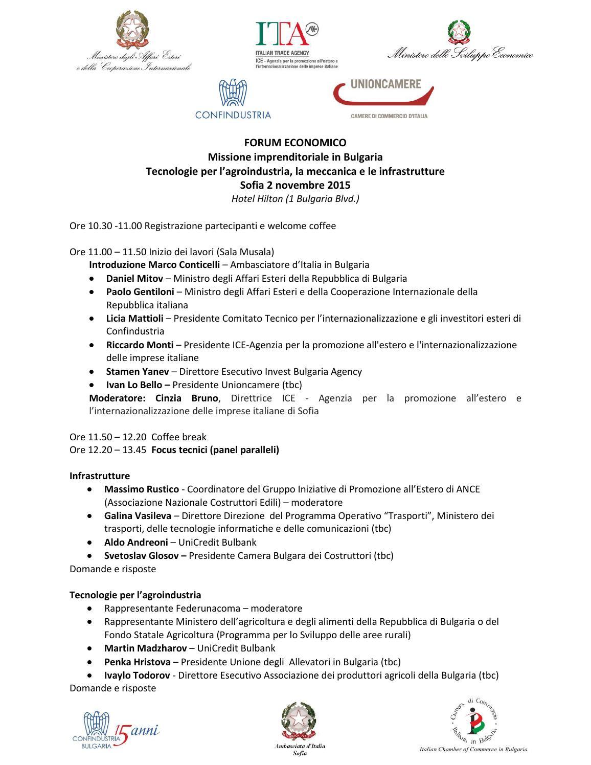 Bozza programma aggiornato 15 10 2015 by camera di commercio italiana in bulgaria issuu - Agenzia immobiliare sofia bulgaria ...