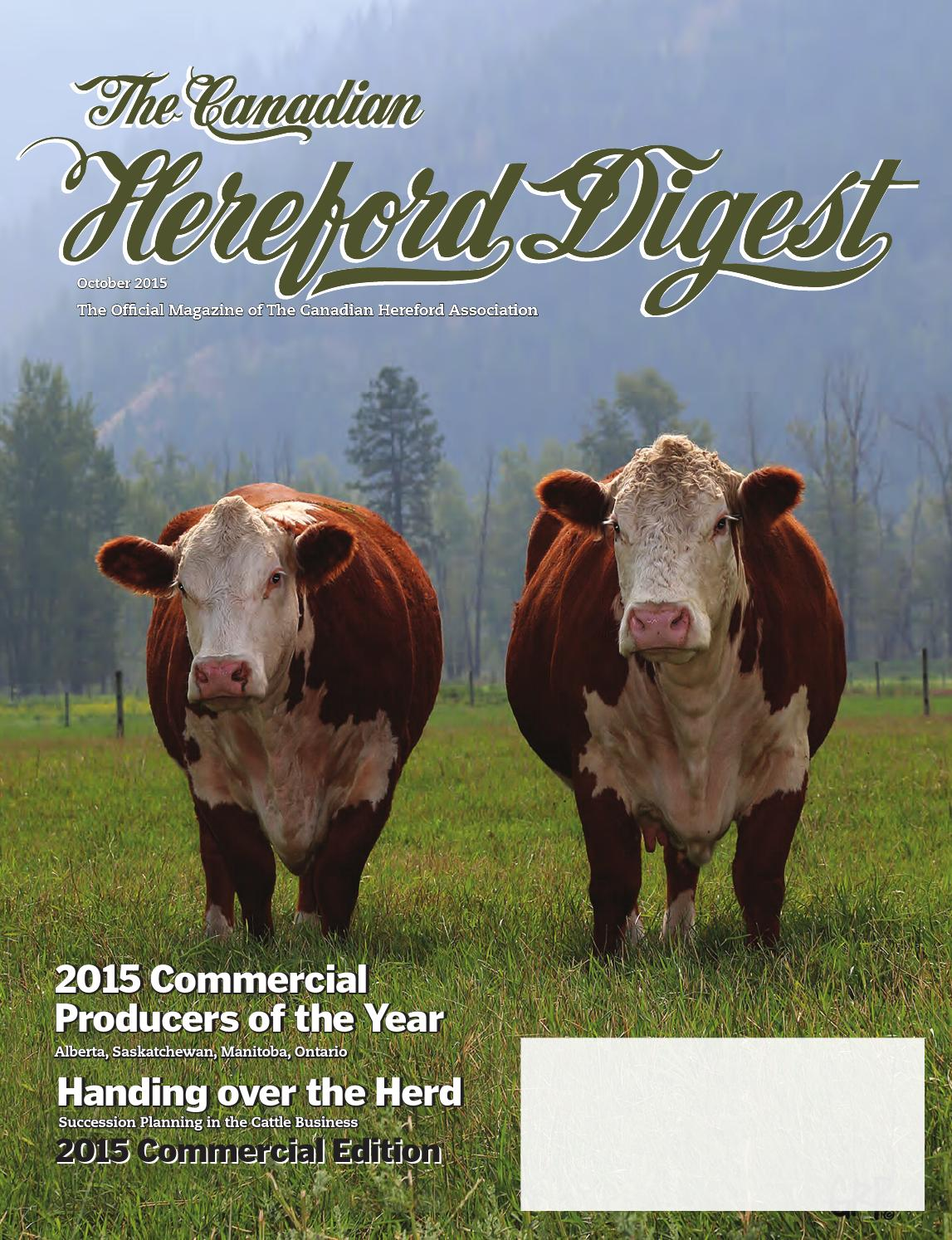 The Canadian Hereford Digest 2016 Herd Reference Edition By Association