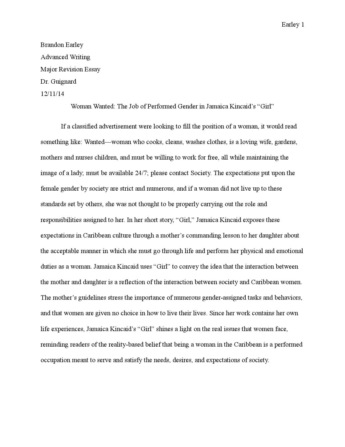 Thesis For Compare Contrast Essay  Synthesis Essay Tips also Comparison Contrast Essay Example Paper Performing Gender In Jamaica Kincaids By Brandon Earley  Issuu Business Essay Sample