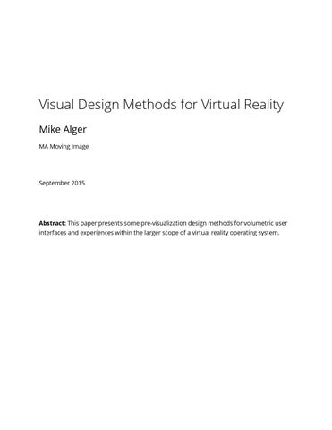 Visual Design Methods for Virtual Reality by Mike Alger - issuu