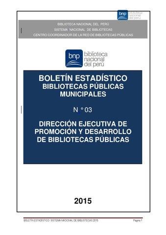 Boletín Estadístico del Sistema Nacional de Bibliotecas Perú 2015 3b98531d660