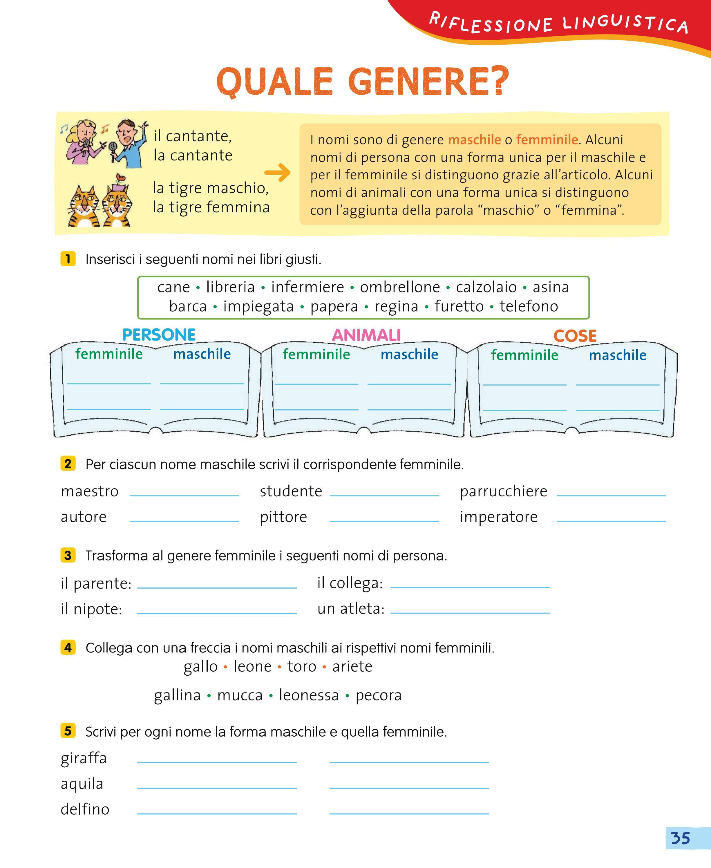 A come a scuola insieme grammatica by utenti for Maschile e femminile esercizi