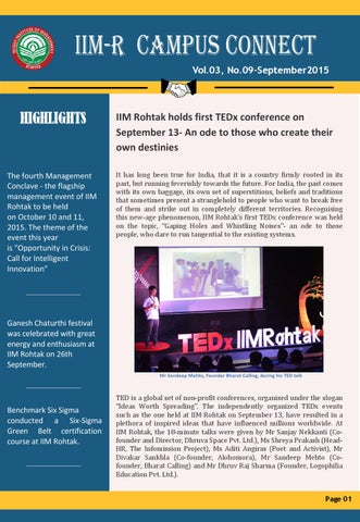 IIM R Campus Connect Vol 03  No 09  Issue- September 2015 by