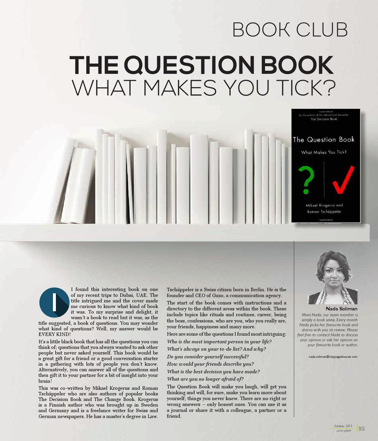 The Question Book What Makes You Tick