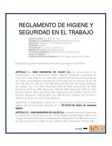 Reglamento de higiene y seguridad industrial by mab for Ministerio de seguridad telefonos internos