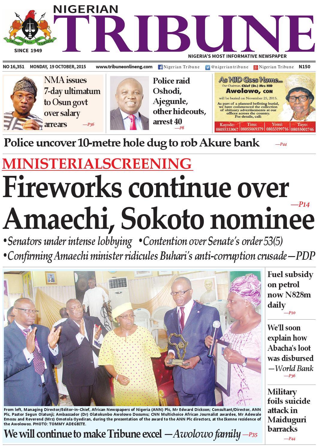 19th October 2015 by Nigerian Tribune - issuu