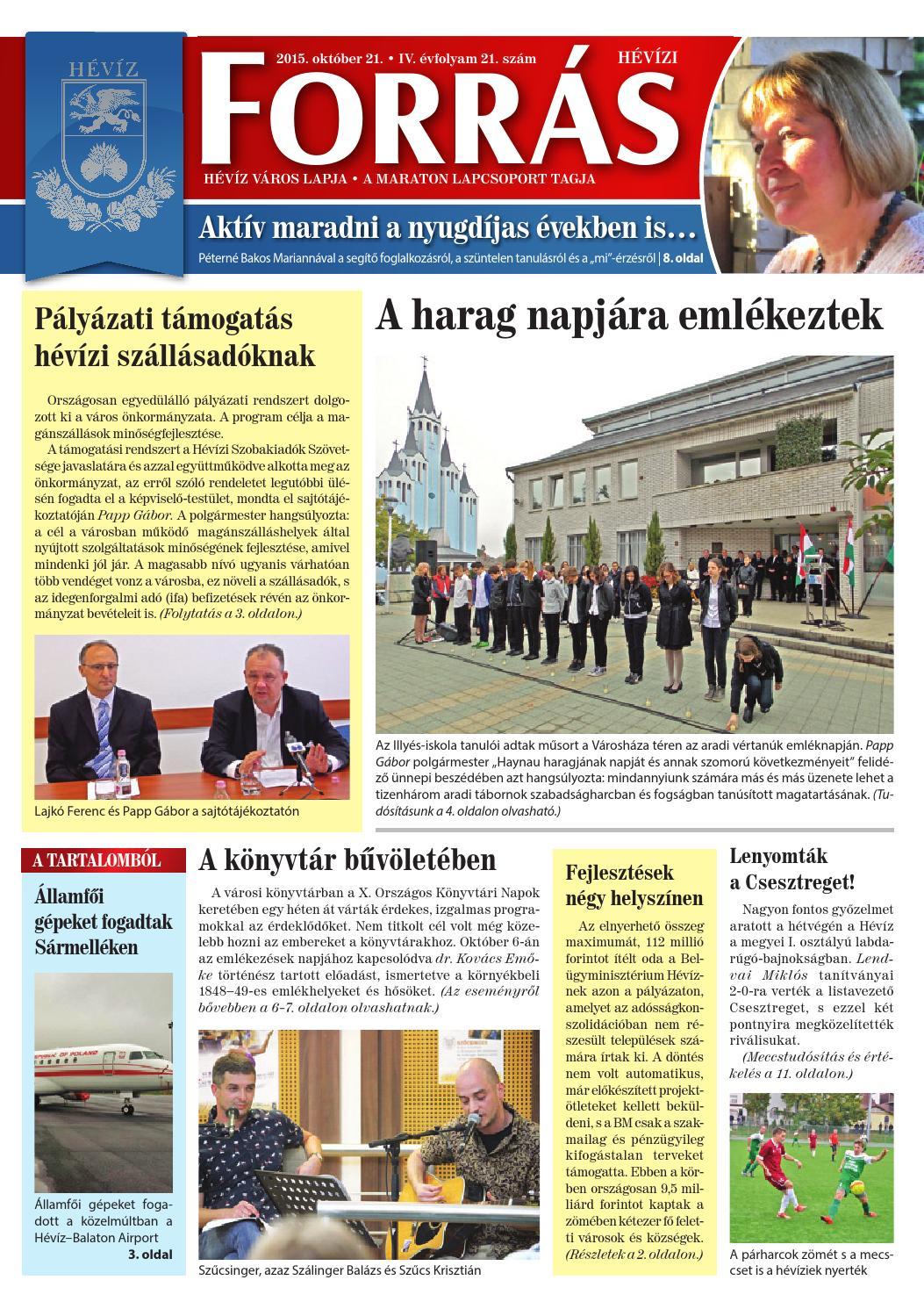 Hévízi Forrás - 2015. 10. 21. by Maraton Lapcsoport Kft. - issuu 2d4017a3c5