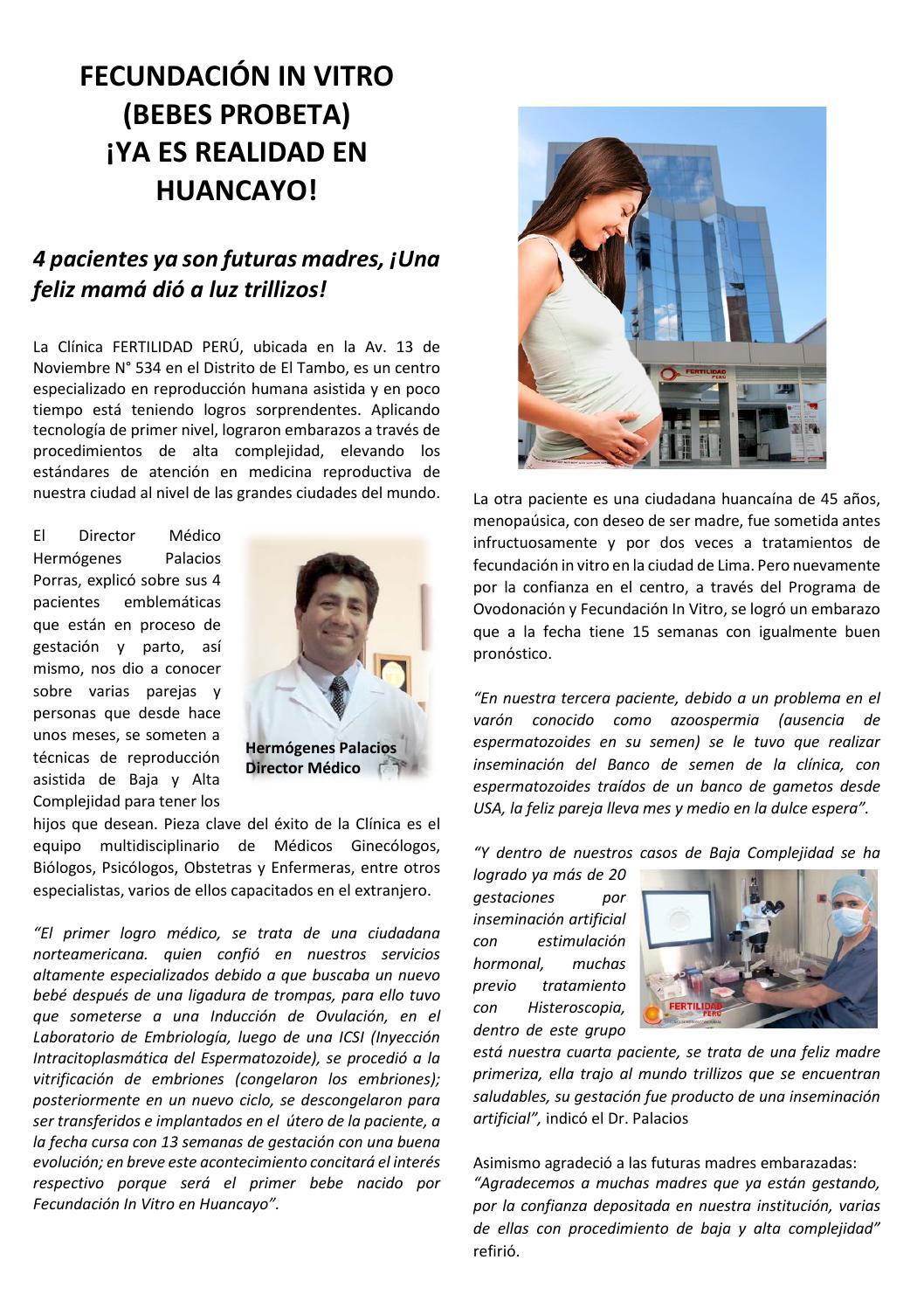CLINICA FERTILIDAD PERU PRIMERA FECUNDACION IN VITRO EN HUANCAYO ...