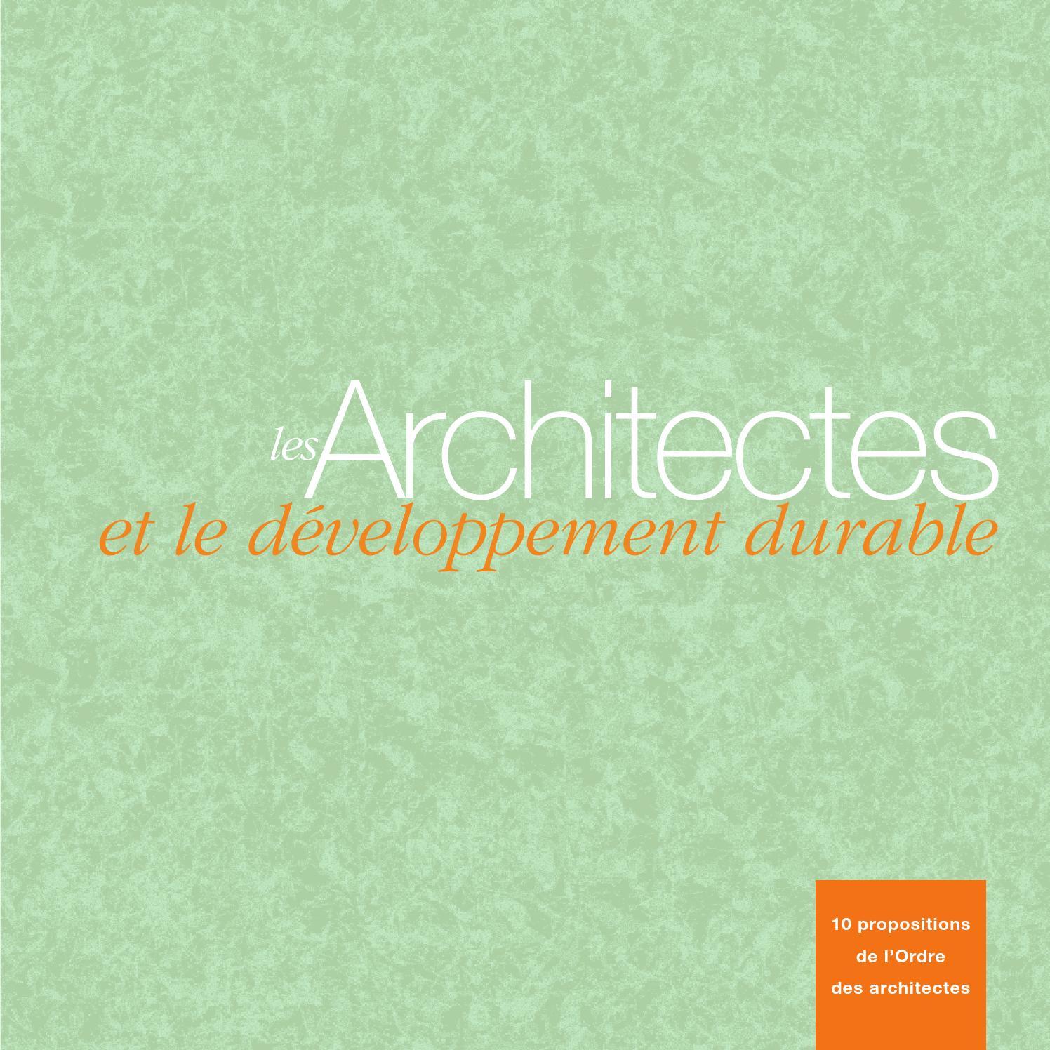 Liste Ordre Des Architectes les architectes et le developpement durablecnoa - issuu