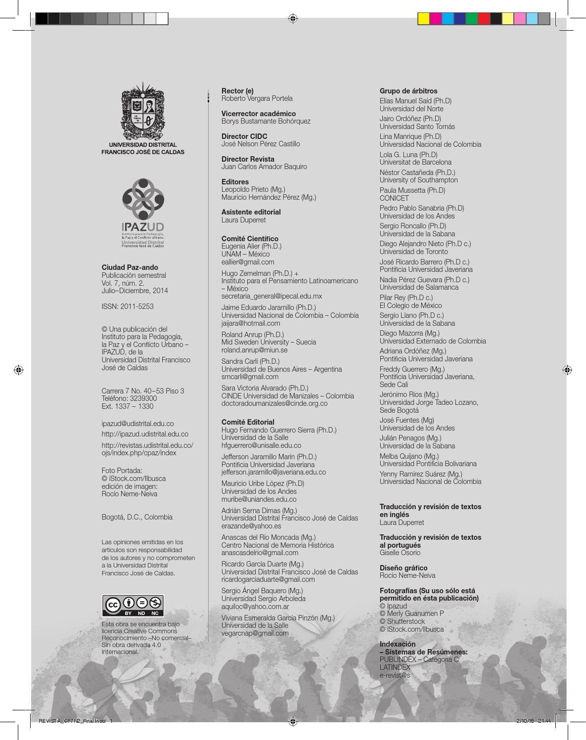 Revista ciudad Paz-ando Volumen 7 número 2 by Ipazud Udistrital - issuu