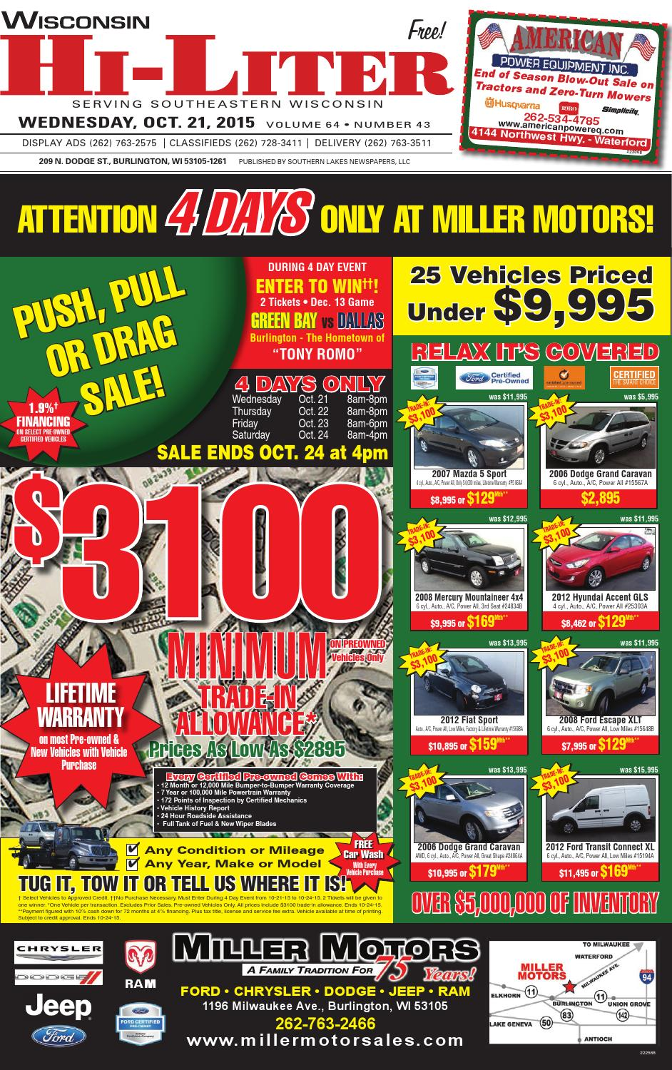 Wi hiliter 10 21 15 by southern lakes newspapers issuu for Miller motors burlington wisconsin