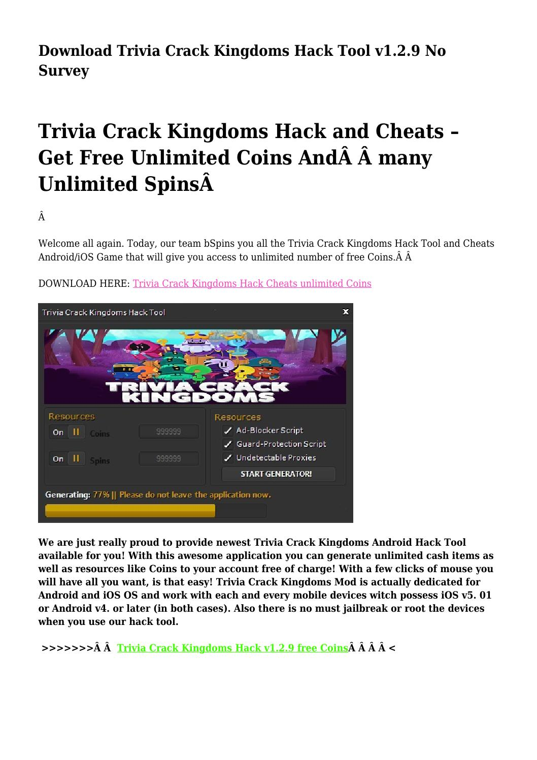 Download Trivia Crack Kingdoms Hack Tool v1 2 9 No Survey by