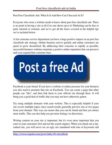 Post free classifieds ads by DanaeCanter - issuu