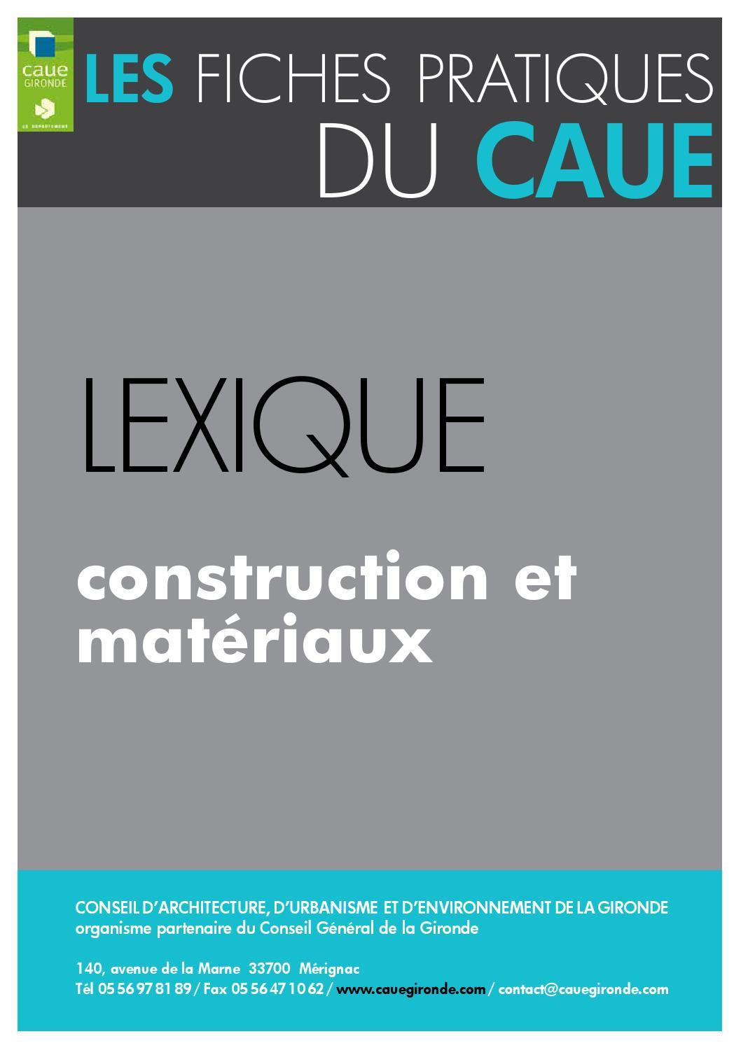 2015 lexique construction et matériaux by caue de la gironde issuu