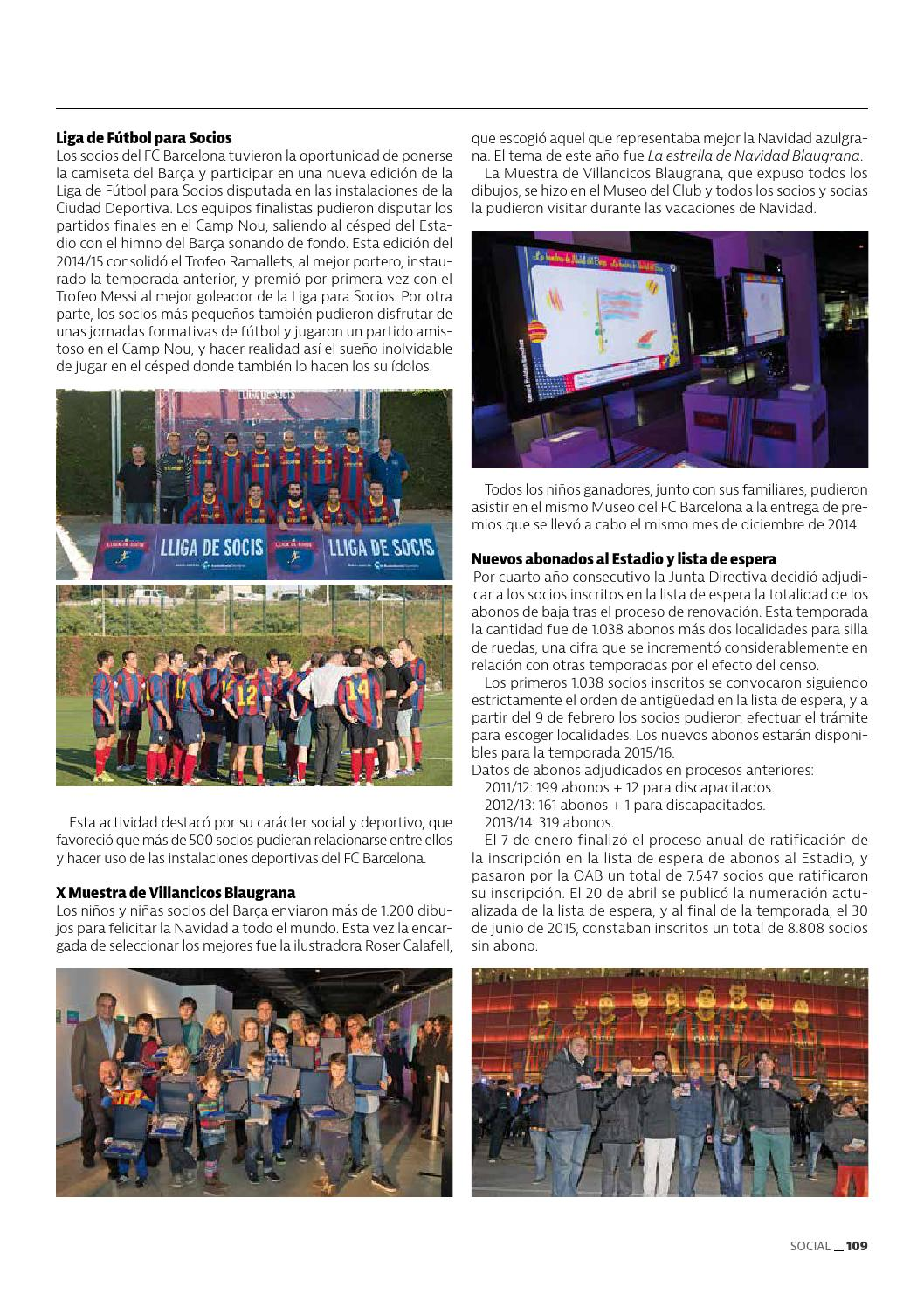 Felicitaciones De Navidad Del Fc Barcelona.Memoria Anual Fc Barcelona Temporada 2014 15 By Fc Barcelona