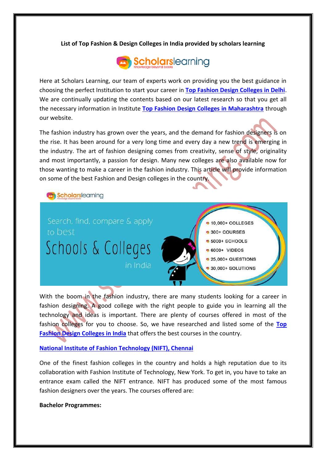 List Of Top Fashion Design Colleges In India Provided By Scholars Learning By Sl Learning Issuu