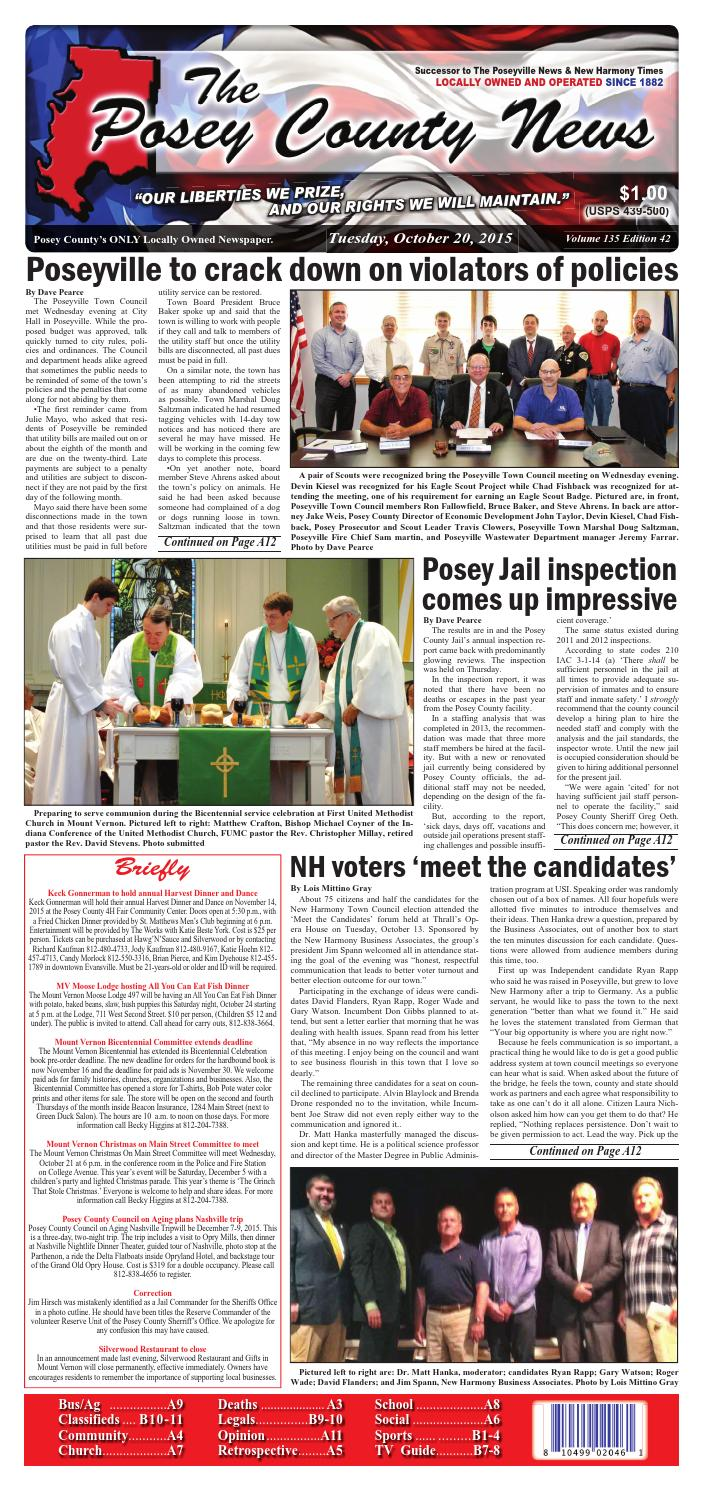 October 20, 2015 - The Posey County News by The Posey County News ...