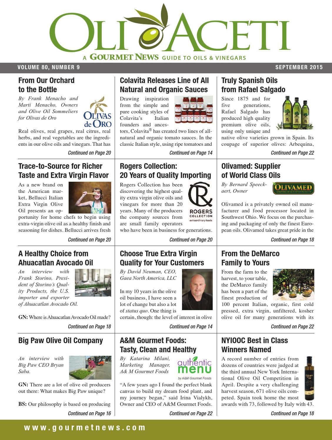 Gourmet News September 2015 Oli e Aceti