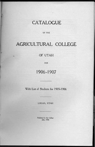 General Catalogue 1906 By USU Digital Commons Issuu