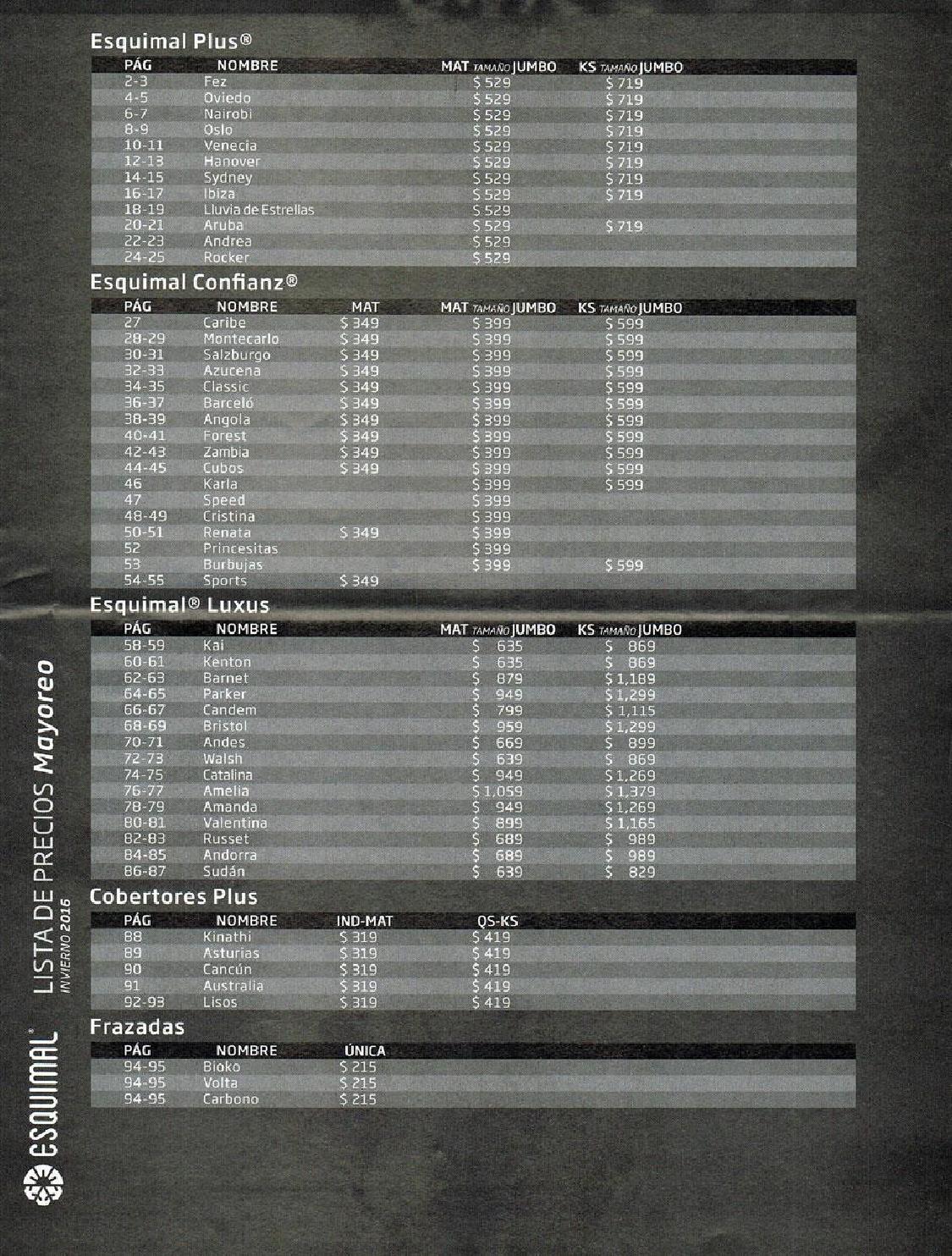 Lista De Precios Cobertores Esquimal Octubre 2015 By Www