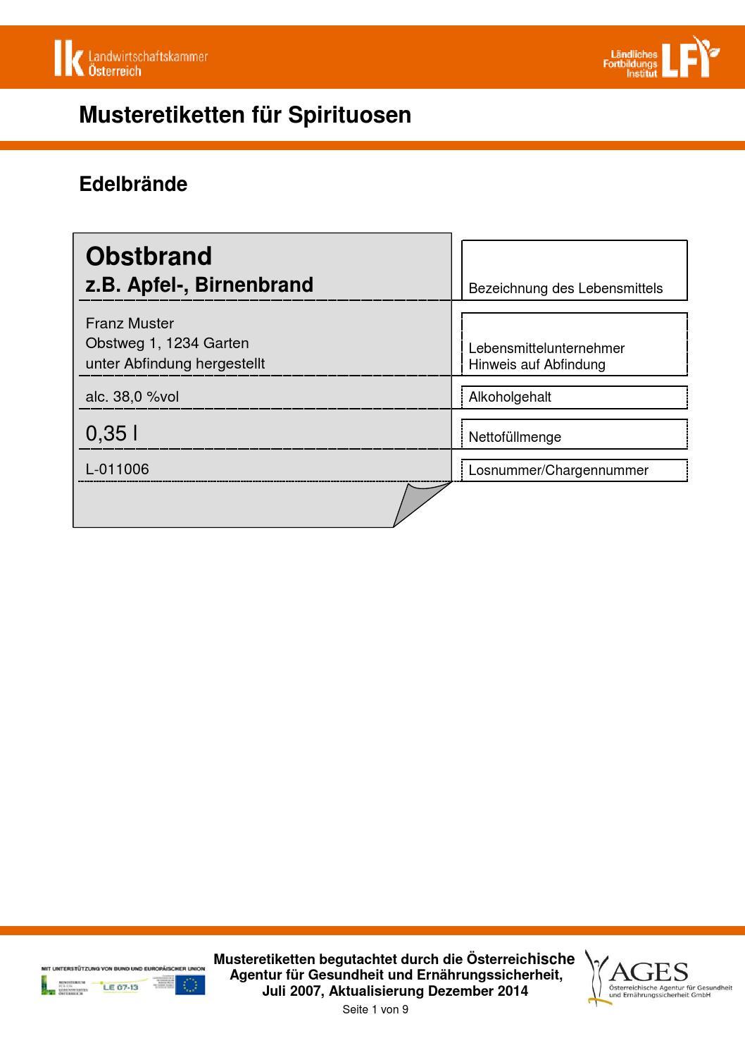 Musteretiketten spirituosen 171214 by Hygiene bei Edelbrennern - issuu