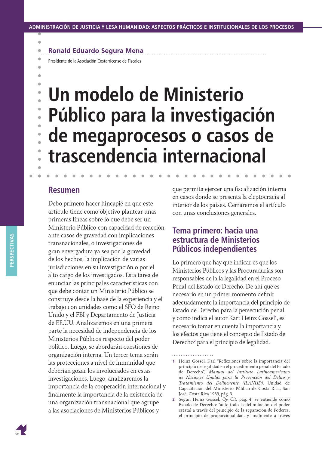 Un Modelo De Ministerio Público Para La Investigación De
