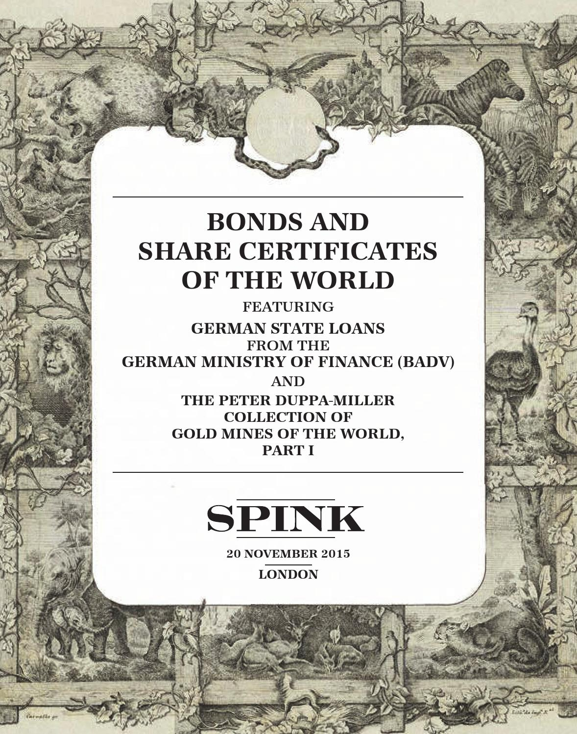Bonds And Share Certificates Of The World 15019 By Spink And Son Page 1  15019
