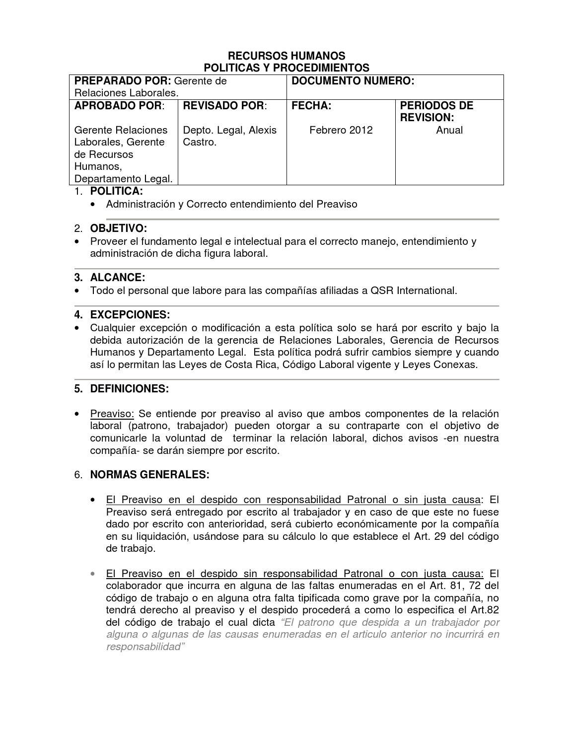 Politica preaviso by RH Intelectiva - issuu