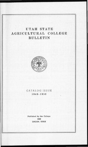 Usu General Catalog 1949 By Usu Digital Commons Issuu