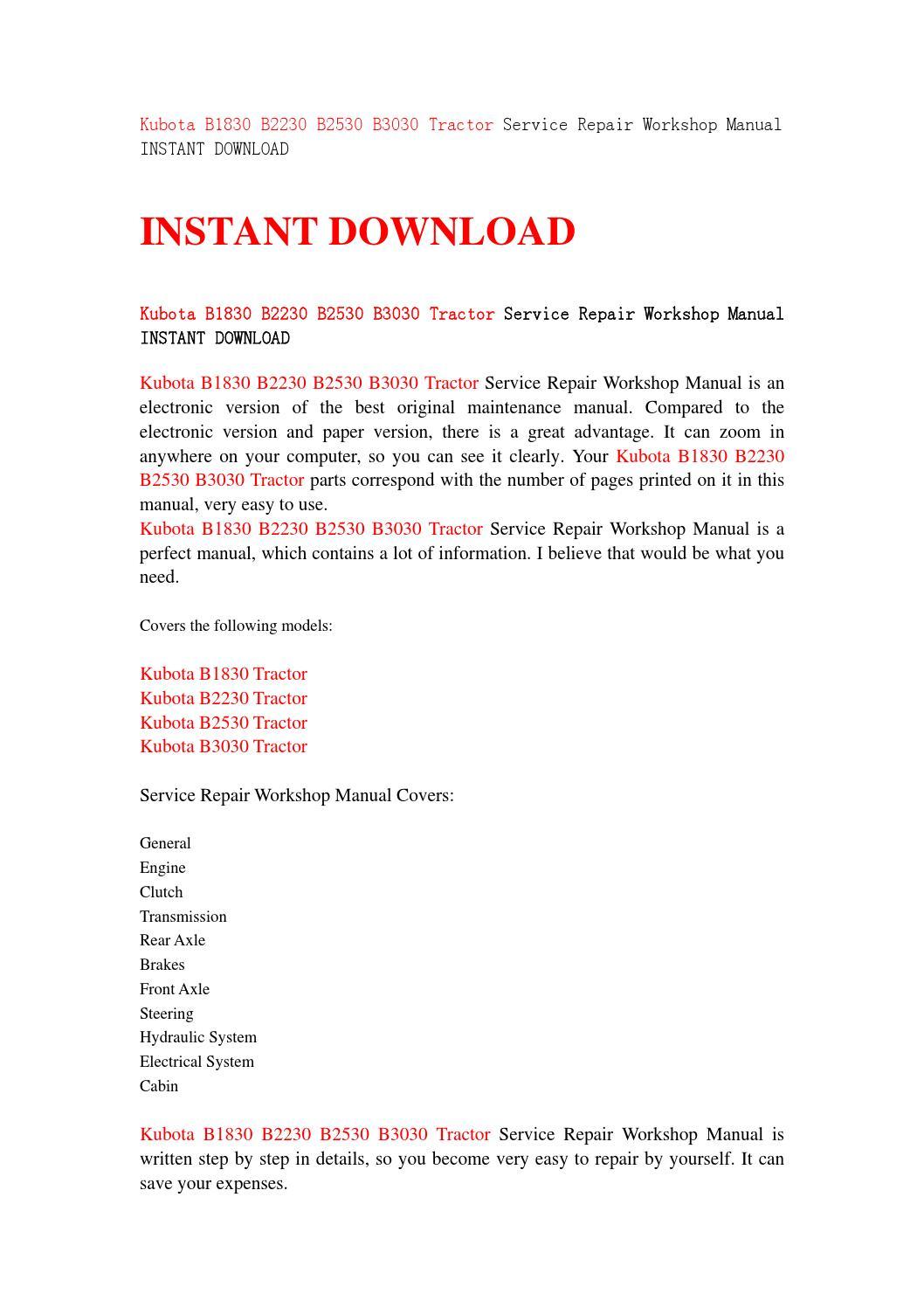 Kubota b1830 b2230 b2530 b3030 tractor service repair workshop manual  instant download by jjshefnsnef - issuu