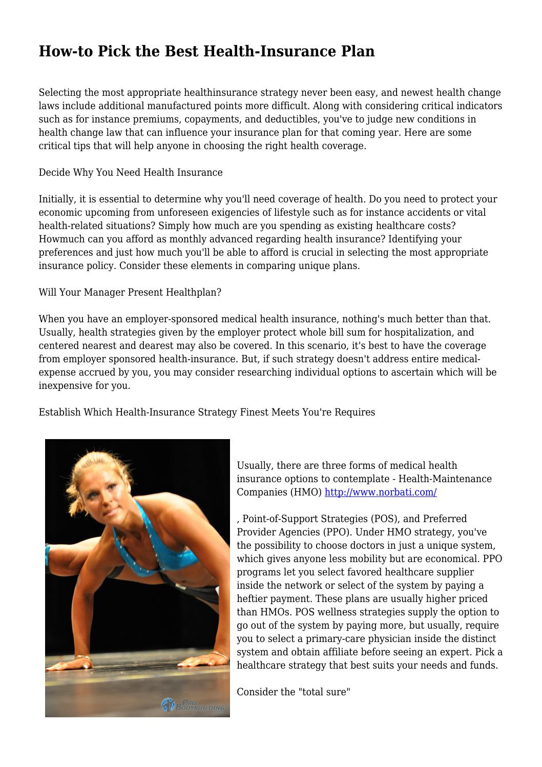 how to pick the best health insurance plan by bestwe1ghtloxx issuu