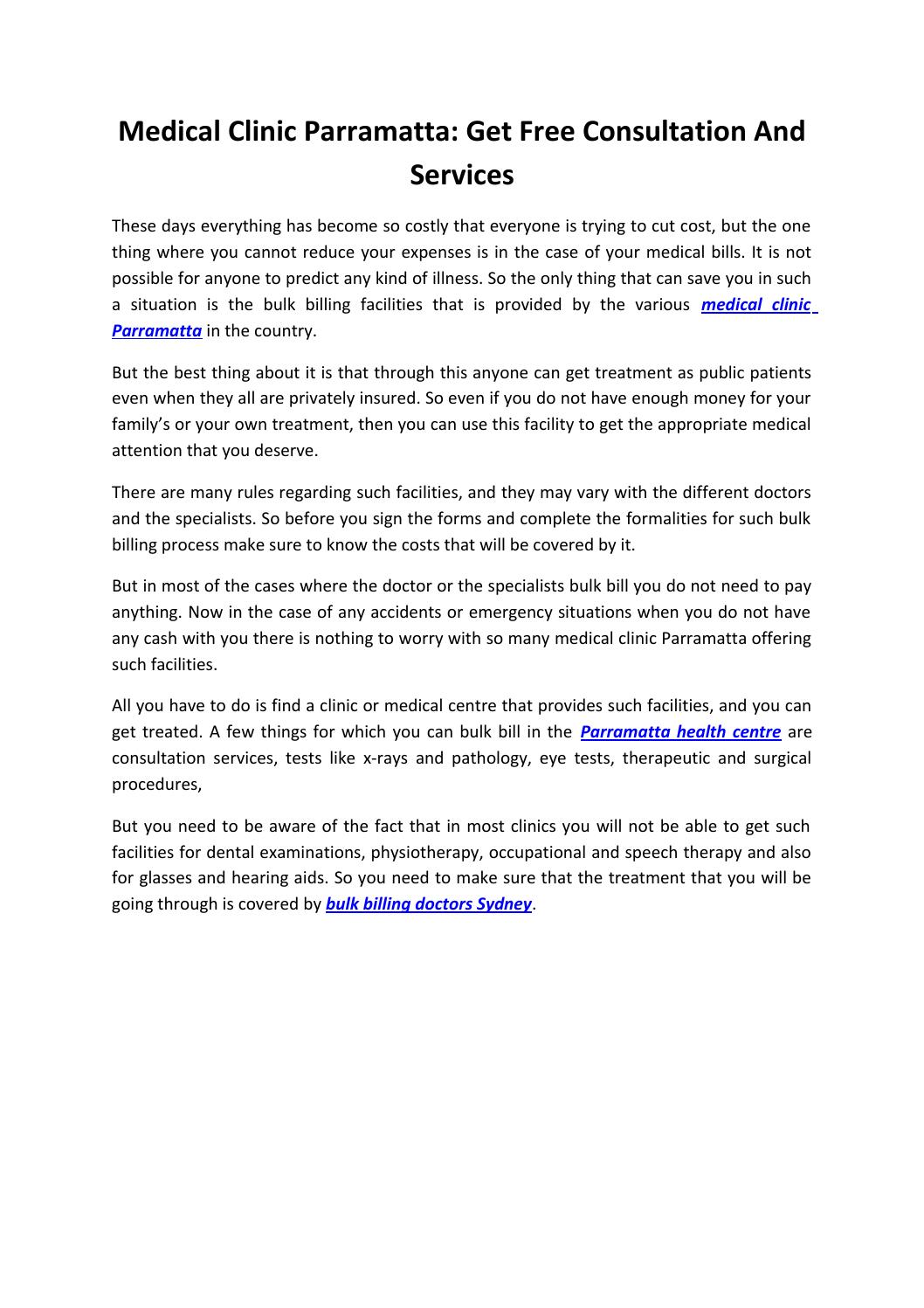 Medical Clinic Parramatta: Get Free Consultation And