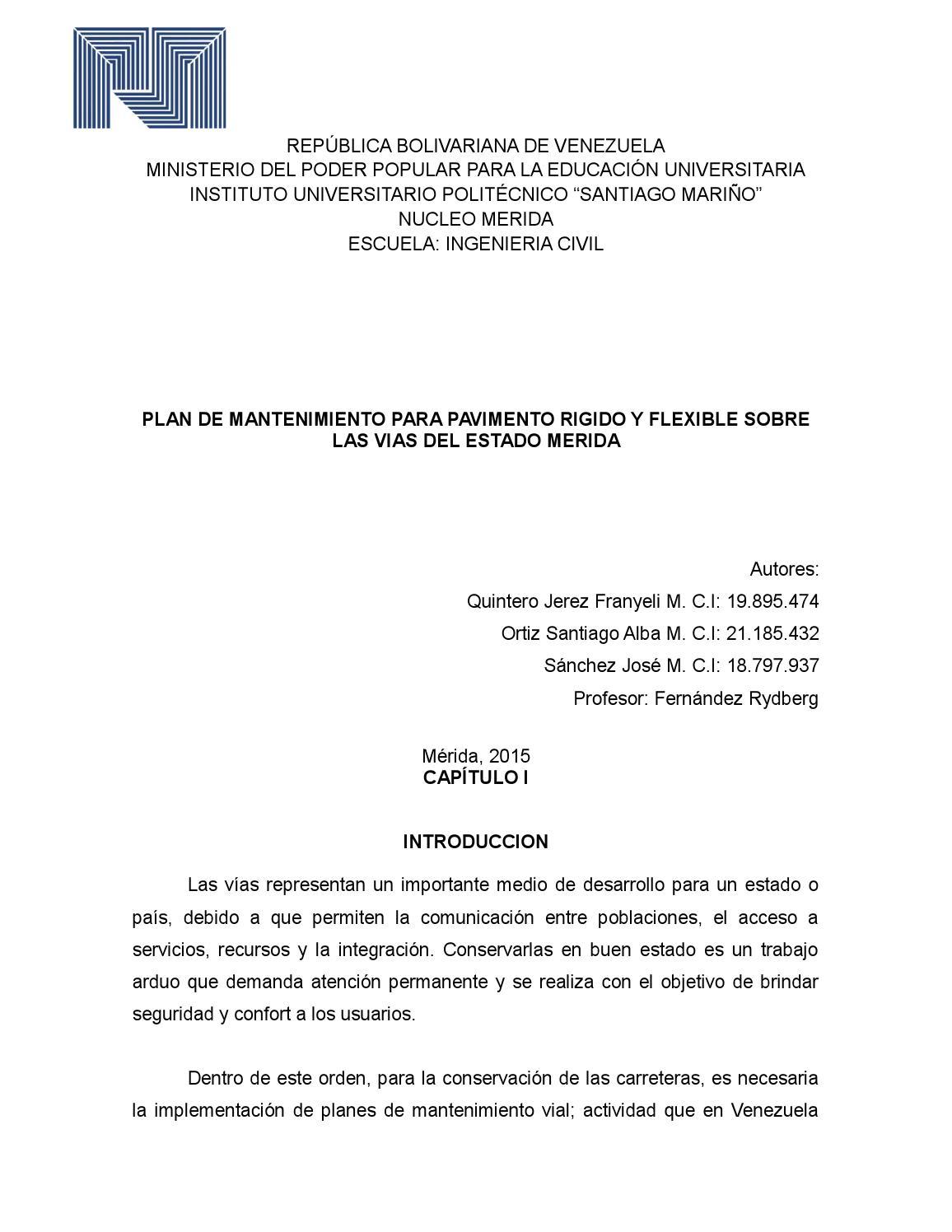 Plan de mantenimiento de Pavimie by Miguel Paredes Montilla - issuu