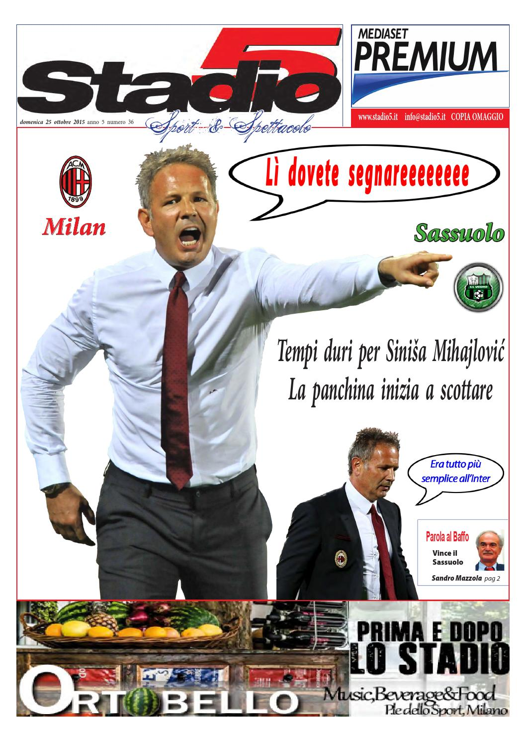 N 36 2015 Milan Sassuoloweb By Stadio5 Issuu