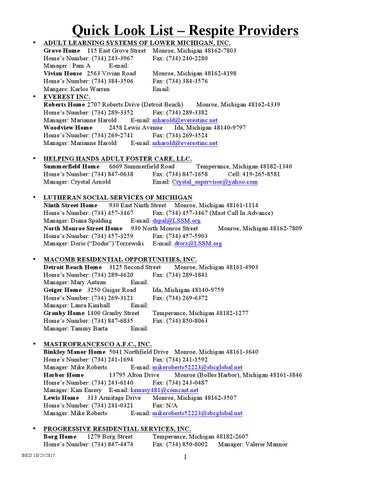 Mchma Provider List 2015 By Monroe Community Mental Health Authority