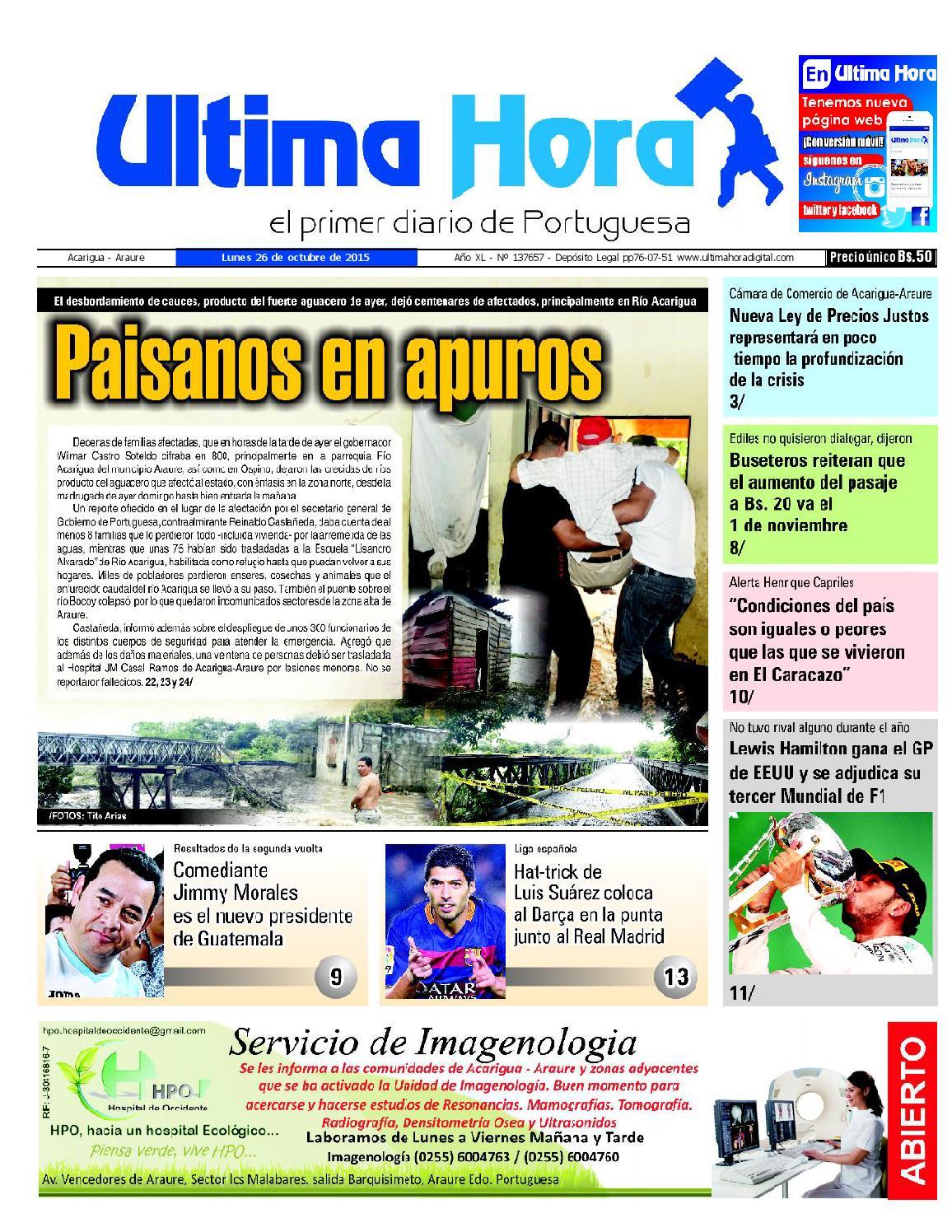 Edicion26 10 2015 By Ultima Hora El Primer Diario De Portuguesa  # Muebles Castro Tovar Toral Vados