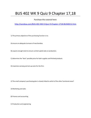 Bus 402 week 9 quiz 9 chapter 17,18 by marymcdaniel423 - issuu