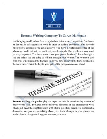 Resume Writing Company To Carve Diamonds In This Vying World, Where For  Every Job There Is Immense Competition. One Has To Be The Best In This  Aggressive ...