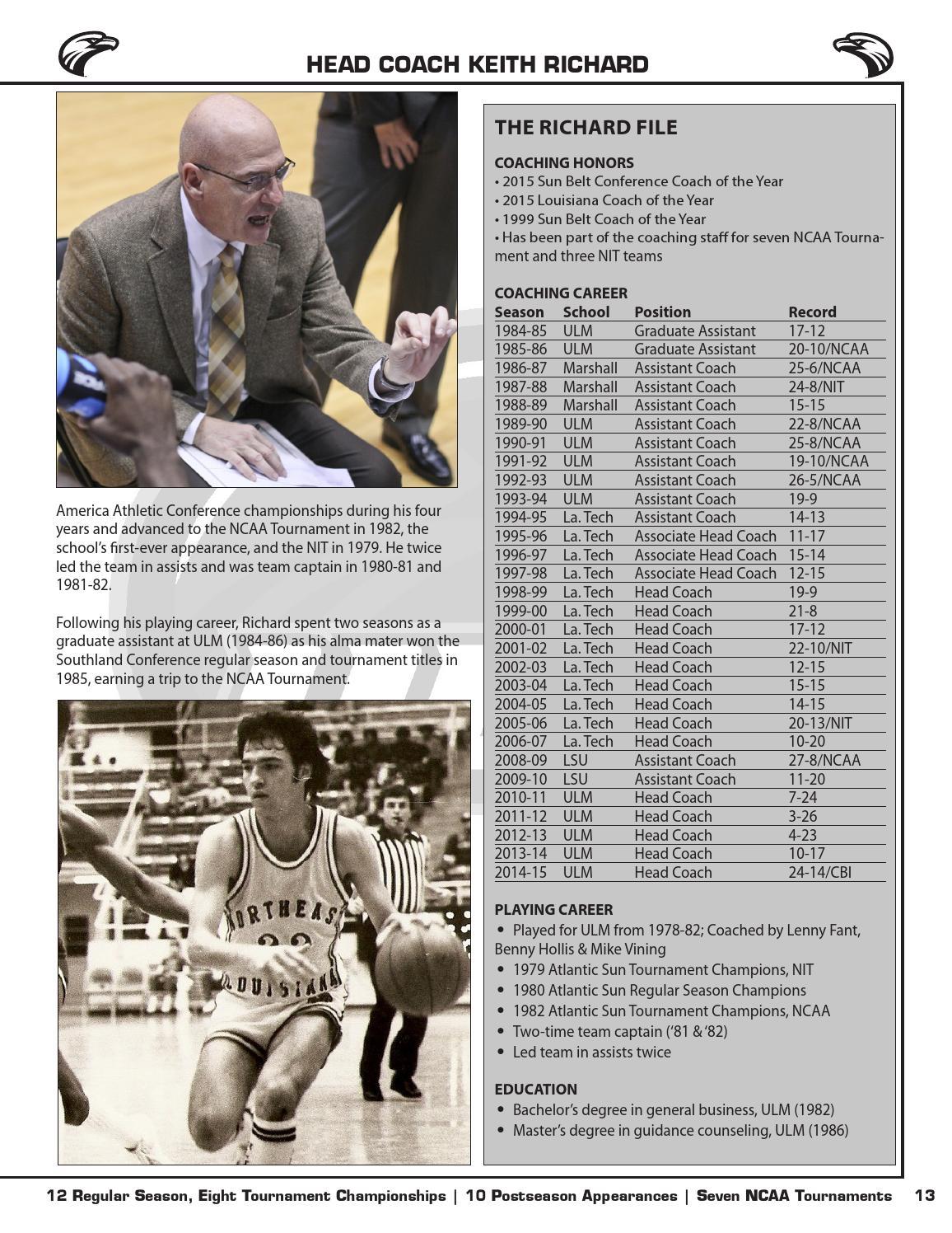 2015-16 ULM Men's Basketball Media Guide by ULM - issuu