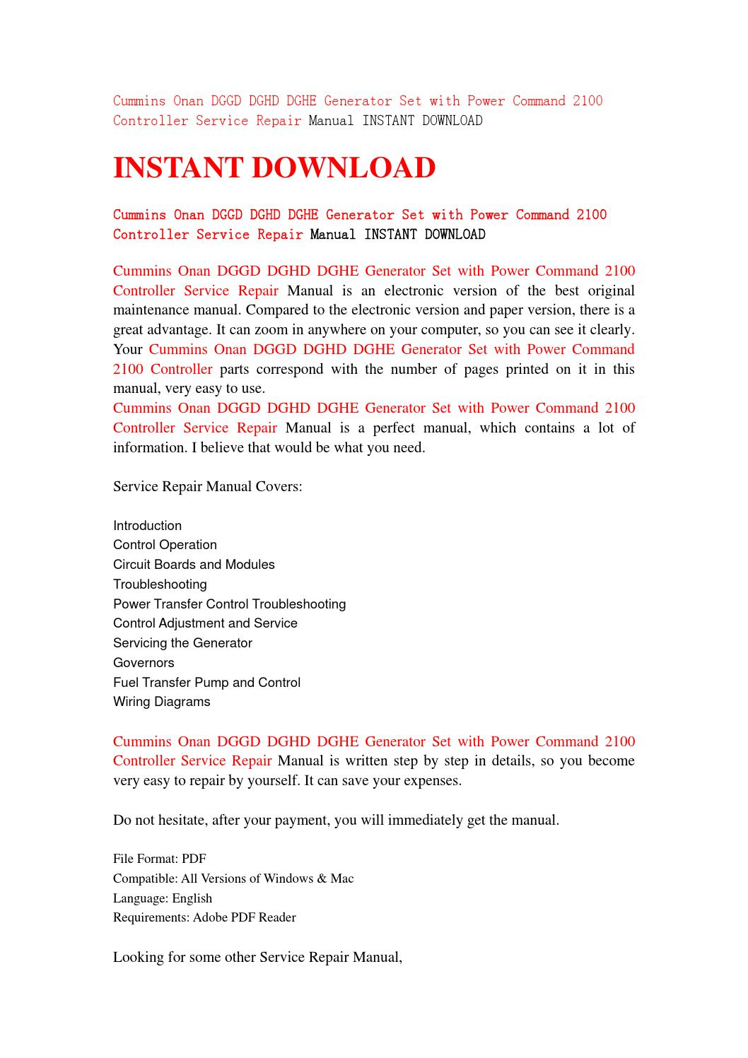 Cummins Onan Dggd Dghd Dghe Generator Set With Power Command 2100 Control Wiring Basics Pdf Controller Service Repair Manual I By Kjsefmme56 Issuu