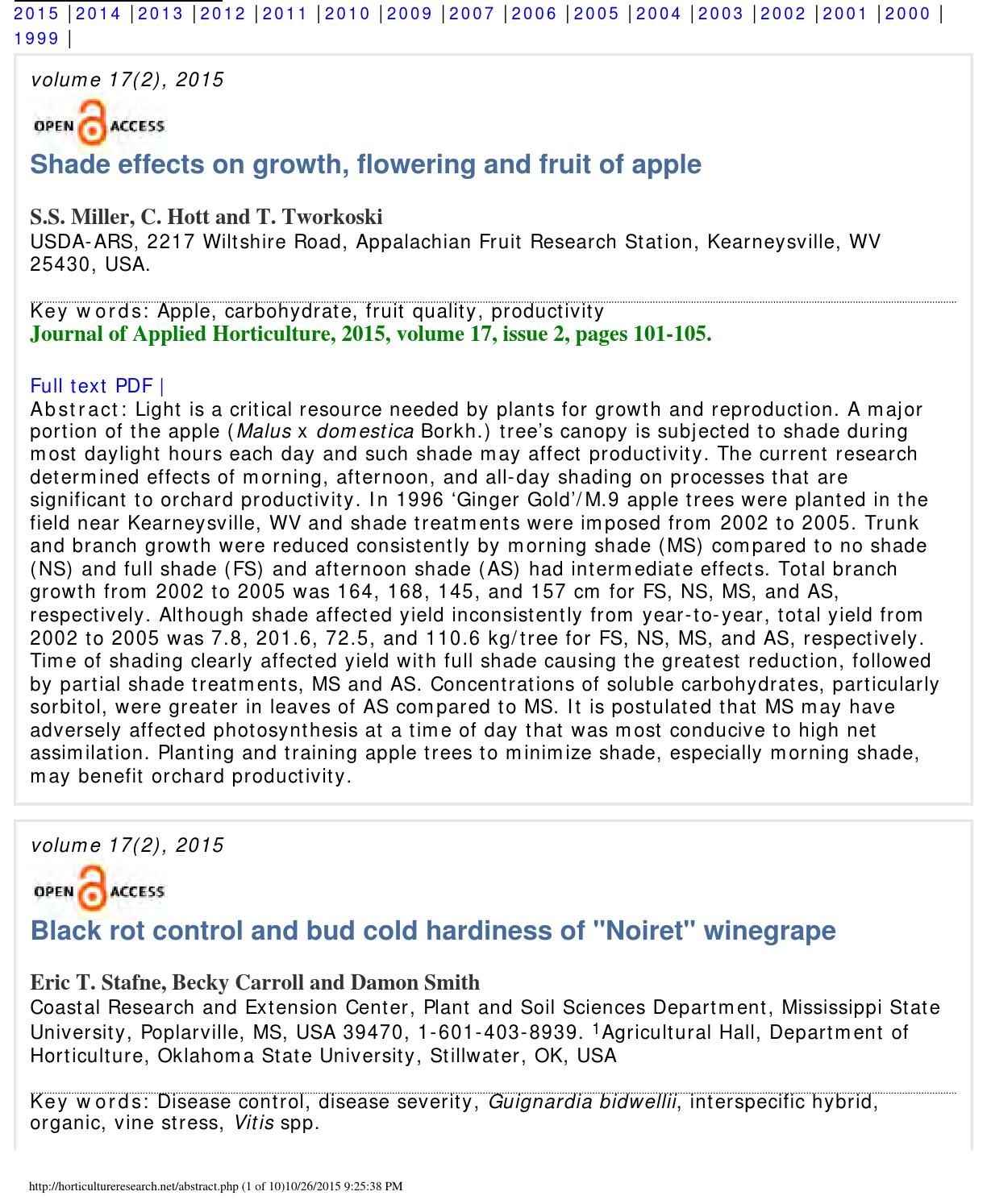 Journal of applied horticulture abstracts horticultureresearch net