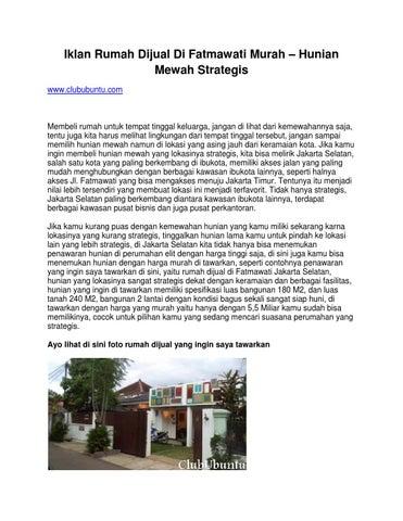 Iklan Rumah Dijual Di Fatmawati Murah Hunian Mewah Strategis Www Clububuntu Com By Prayoga Issuu
