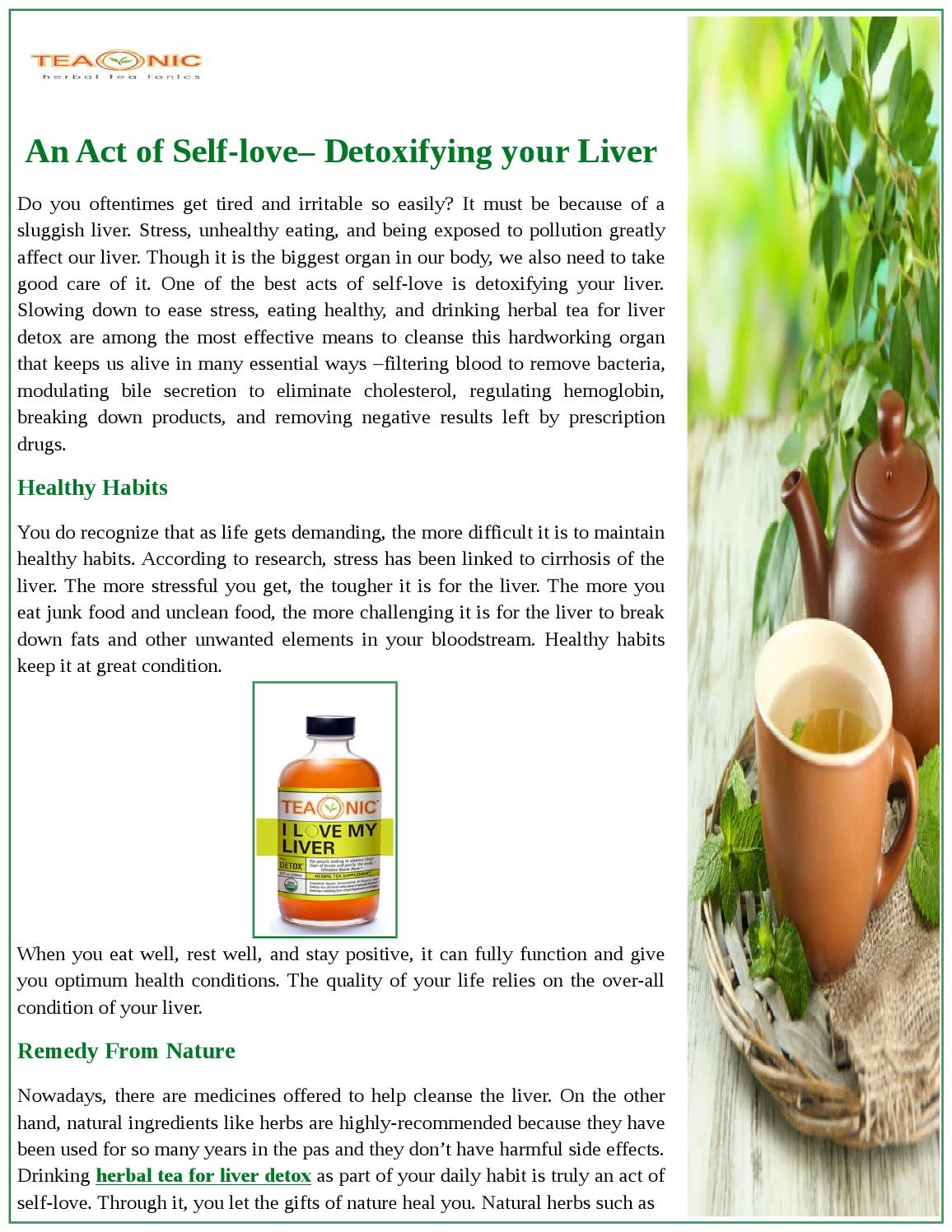 An Act Of Self-Love– Detoxifying Your Liver by TeaOnic Herbal Tea