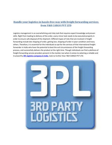 Top international freight forwarders in india by