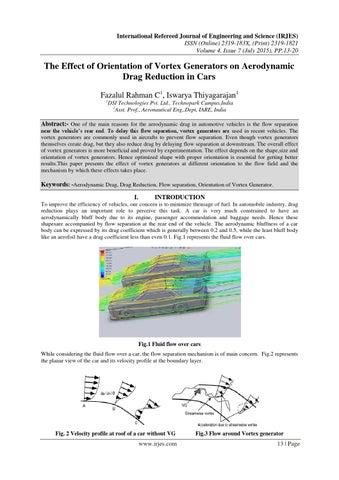 The Effect Of Orientation Of Vortex Generators On Aerodynamic Drag