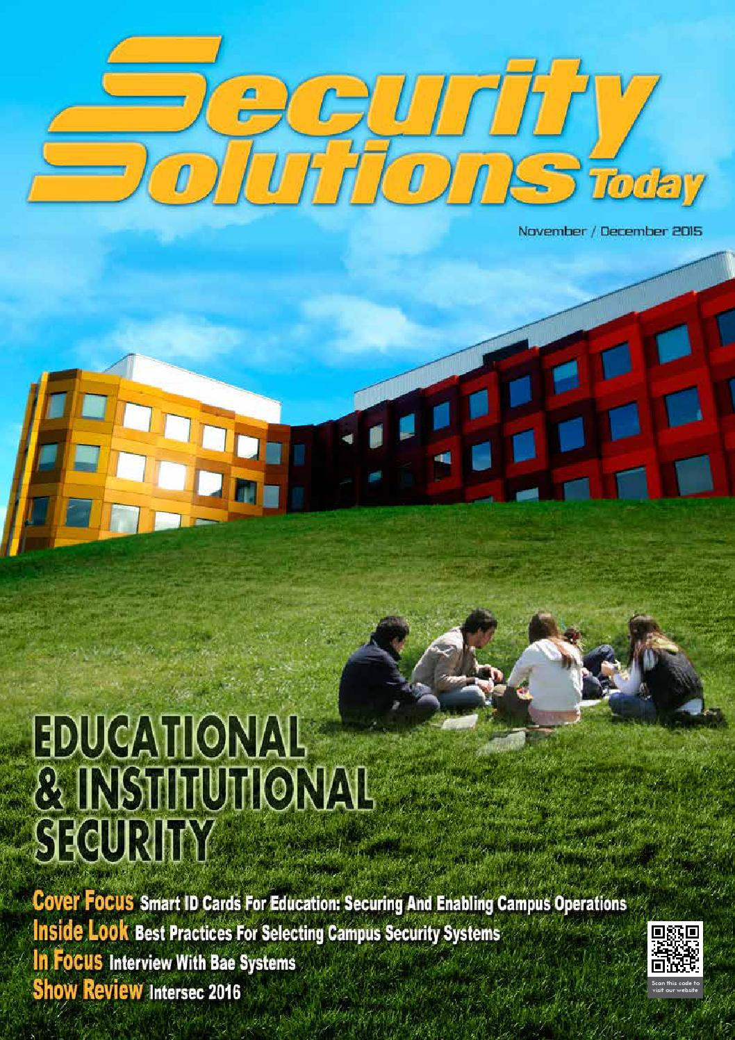 Security Solutions Today : Nov-Dec 2015 by Security