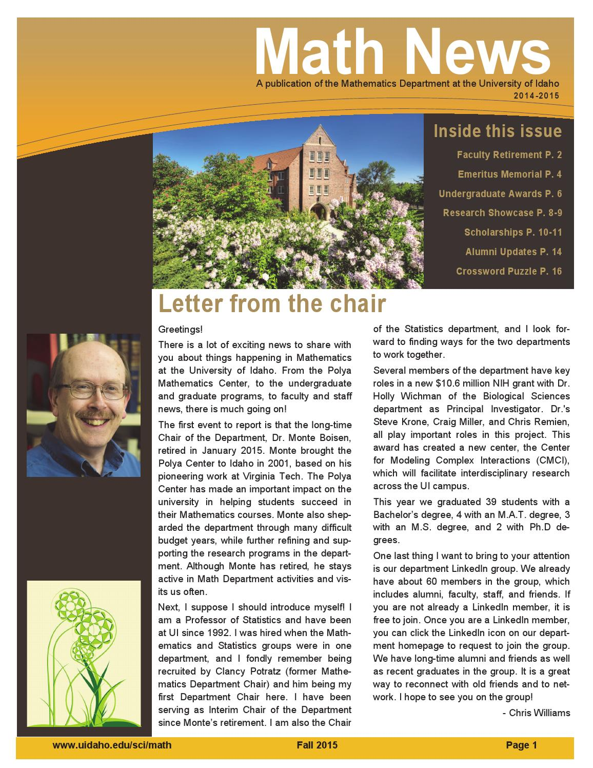 Math News 2014-2015 | Department of Mathematics by The University of Idaho - issuu
