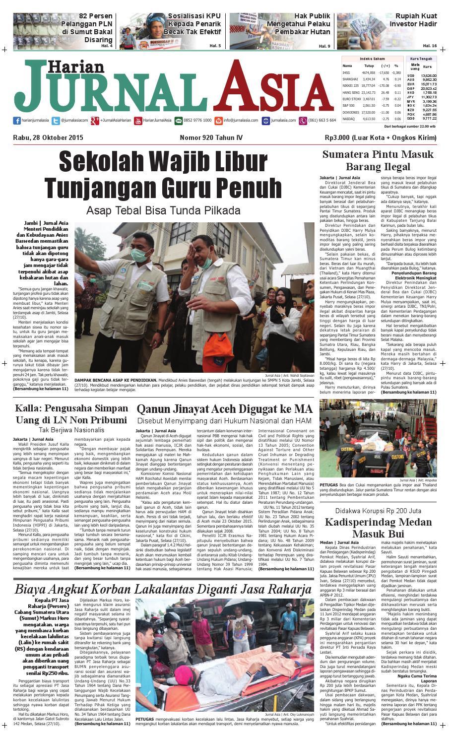 Harian Jurnal Asia Edisi Rabu 28 Oktober 2015 By Perdana Axis Acak Revanyu Medan Issuu