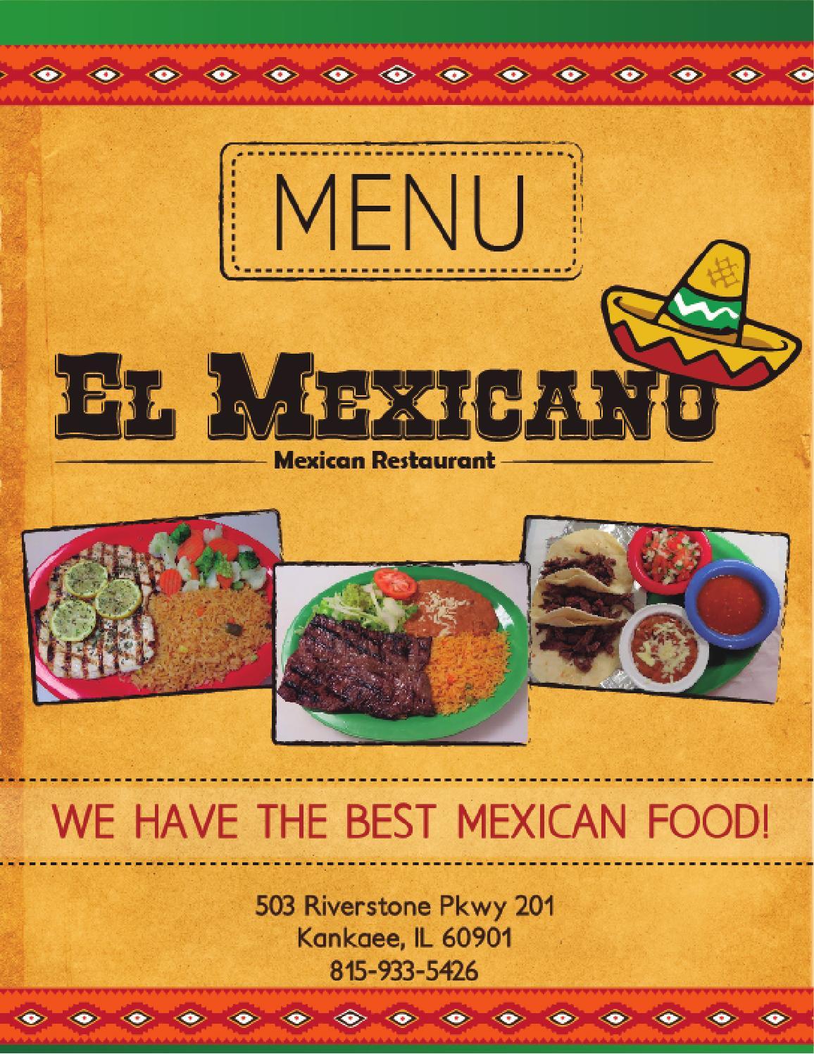 Menu Restaurant El Mexicano By Tonyredmor Issuu